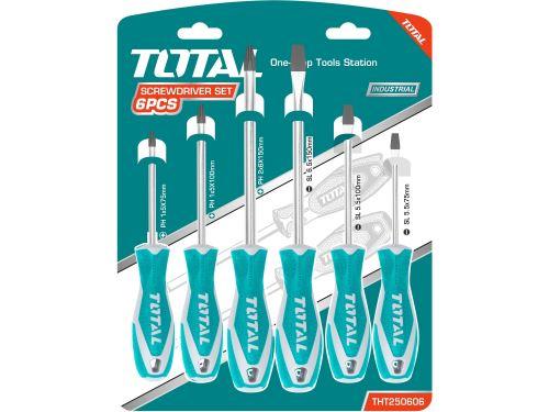Sada 6ks šroubováků TOTAL THT250606, industrial, 3x (-) , 3xPH, CrV