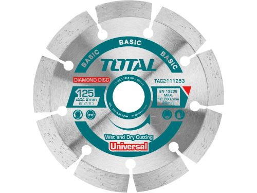 Kotouč diamantový řezný TOTAL TAC2111253, segmenový, suché i mokré řezání, 125x22,2mm