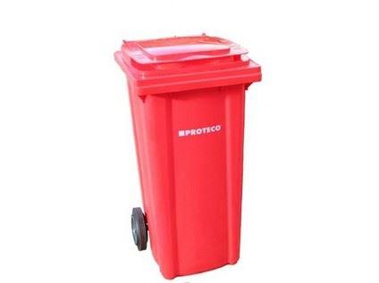 Plastová popelnice Proteco 10.86-P120-CR, 120l, červená