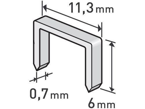 Spony Extol 8852501, balení 1000ks, 6mm, 11,3x0,52x0,70mm